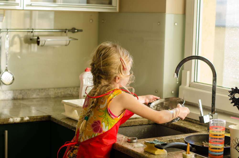 Girl Doing Dishes