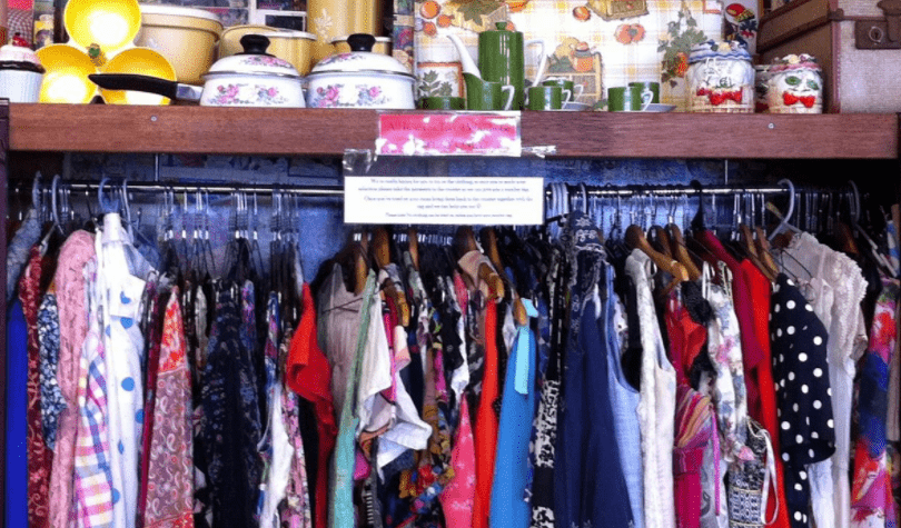 Vintage clothes in antique centre