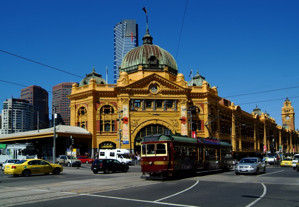 Tram in Flinders St Station