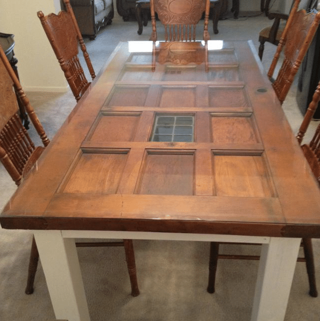 Door turned into dining table