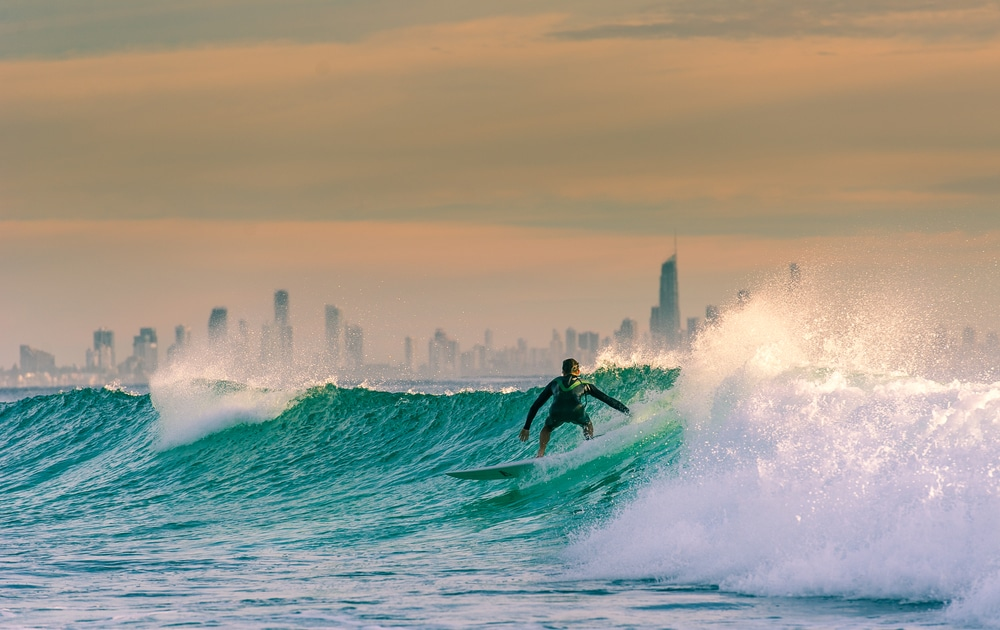 Man surfing at Surfers Paradise, Gold Coast