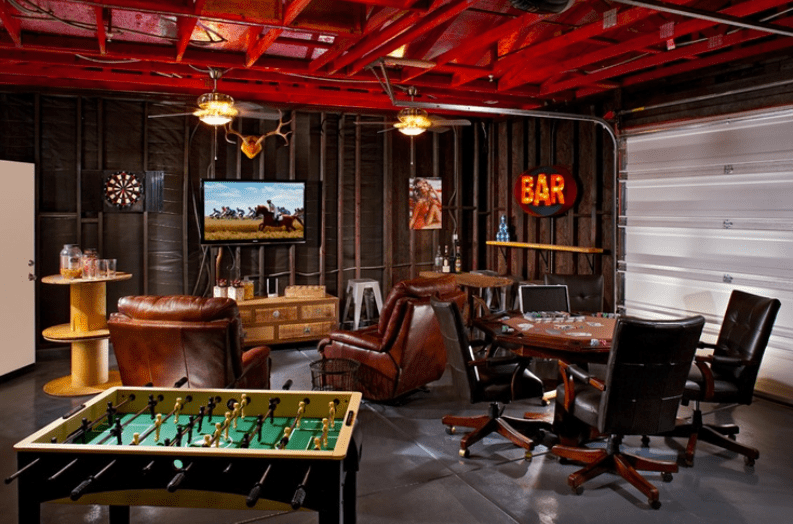 garage party room man cave idea