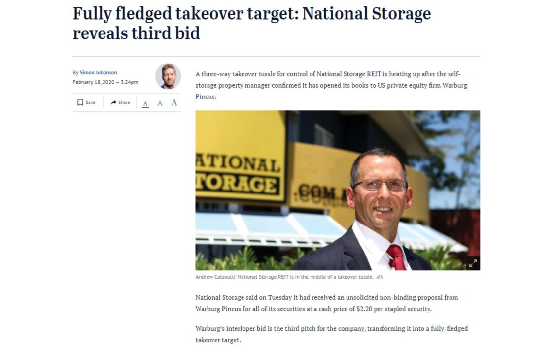 National Storage in the news - 18 February, 2020